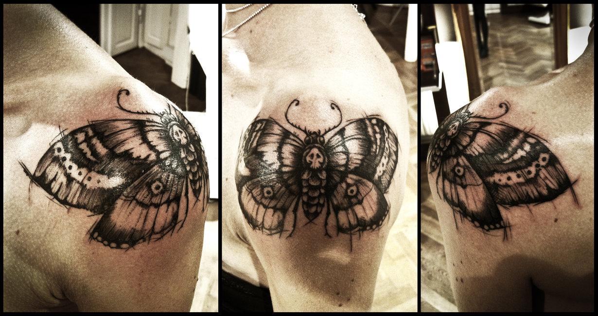 Deathhead moth tattoo ©2013 ~Meatshop-Tattoo